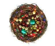 Twig Christmas Wreath filled with Ornaments Royalty Free Stock Photos