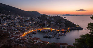 Top view twilight of Hydra island, Greece Stock Photo
