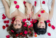 Top view of two charming brides looking at camera Stock Photos