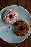 Top view of two doughnuts Stock Photo