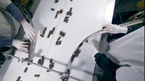 Top view of two factory workers sorting sweets by their hands. Two factory workers are sorting candies on the conveyor belt by their hand in a top view stock footage