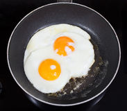 Top view of two fried eggs in frying pan Royalty Free Stock Photography