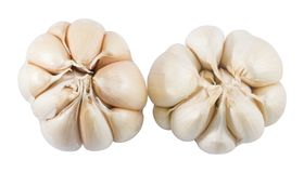 Top View of Two Garlic Bulbs and Garlic Cloves. Vegetable and Herb, Top View of Fresh Organic Garlic Bulbs and Garlic Cloves Used for Seasoning in Cooking Royalty Free Stock Photos