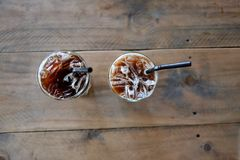 Top view two glasses of iced latte coffee royalty free stock photos