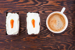 Top view of two homemade mini carrot cakes with mascarpone cream Stock Images