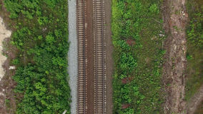 Top view at the two lanes railroad Stock Photos