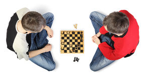 Top view of two men playing chess Stock Photography