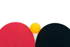 Top view two pingpong rackets and a ball Royalty Free Stock Photography