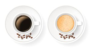 Top view of two realistic cups on saucers with coffee beans. Elements isolated on the white background. Americano, cappuccino and latte coffee Stock Photo
