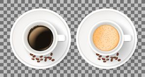 Top view of two realistic cups on saucers on transparent background. Top view of two realistic cups on saucers with coffee beans. Elements isolated on the white Stock Photo