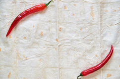 Top view on two red hot chili peppers over light pita background with central copy space Stock Photos