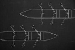 Top view from two rowboats drawed with white chalk on a dark cha Royalty Free Stock Images