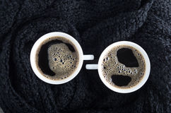 Top view of two small cups of coffee Stock Photo