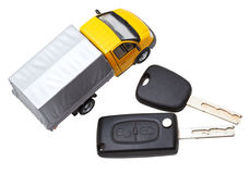 Top view of two vehicle keys and truck model Stock Photography