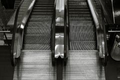 Top view of two way escalator in black and white. Top view of two way escalator Stock Images