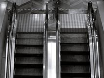 Top view of two way escalator in black and white. In shopping mall Stock Photo