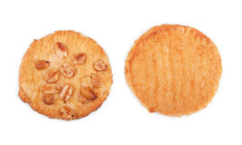 Top view of two whole wheat crisp, isolated on a white background. Bakery products. Sweet homemade vanilla cookies. Pastry. Stock Images
