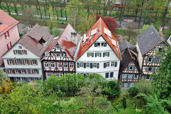 Top view of typical half-timbered houses. Top view of typical half-timbered houses standing in the row with gardens in the foreground. Baden-Wurttemberg Stock Image