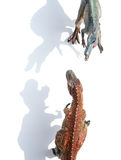 Top view tyrannosaurus and spinosaurus with shadow. Top view tyrannosaurus and spinosaurus on white with shadow Stock Images