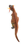 Top view tyrannosaurus toy catching a smaller disonaur on white. Background stock images
