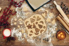 Dough for christmas cookies. Top view of unbaked dough for christmas cookies on wooden table Stock Photos