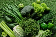 Top view of uncooked tasty green vegetables on grass, healthy. Eating concept royalty free stock photography
