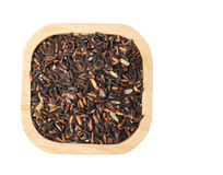 Top view of uncooked thai black rice with clipping path. royalty free stock image