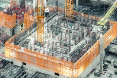 Top view of an under construction building. Civil engineering, industrial development project, tower basement infrastructure Royalty Free Stock Photos