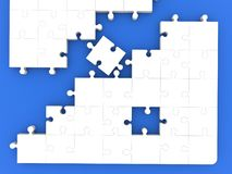 Top view on unfinished puzzle.3d illustration. In backgrounds Stock Photo
