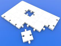 Top view on unfinished puzzle in white on blue. In backgrounds Royalty Free Stock Photography
