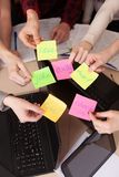 United hands stickers lesson school table computer business team work space top view class mate group stock image