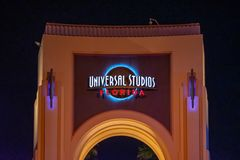 Top view of Universal Studios arch at night at Citywalk in Universal Studios area. stock photos