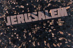 Top view of urban 3D city with name. Top view of urban city in 3D with skycrapers, buildings and name Jerusalem Stock Photo