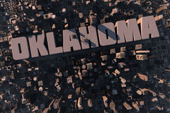 Top view of urban 3D city with name. Top view of urban city in 3D with skycrapers, buildings and name Oklahoma Royalty Free Stock Image