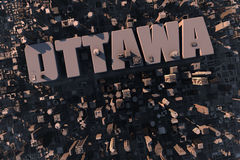 Top view of urban 3D city with name. Top view of urban city in 3D with skycrapers, buildings and name Ottawa Royalty Free Stock Photo