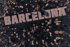 Top view of urban city in 3D. With skycrapers, buildings and name Barcelona Stock Photos