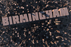 Top view of urban city in 3D. With skycrapers, buildings and name Birmingham Royalty Free Stock Photo