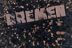 Top view of urban city in 3D. With skycrapers, buildings and name Bremen Royalty Free Stock Image