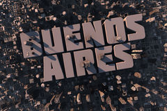 Top view of urban city in 3D. With skycrapers, buildings and name Buenos Aires Stock Photo