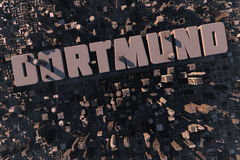 Top view of urban city in 3D. With skycrapers, buildings and name Dortmund Stock Photo
