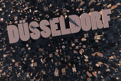 Top view of urban city in 3D. With skycrapers, buildings and name Düsseldorf Royalty Free Stock Photos