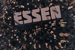 Top view of urban city in 3D. With skycrapers, buildings and name Essen Stock Photos