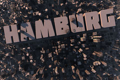 Top view of urban city in 3D. With skycrapers, buildings and name Hamburg Stock Image