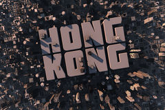 Top view of urban city in 3D. With skycrapers, buildings and name Hong Kong Royalty Free Stock Photography
