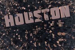 Top view of urban city in 3D. With skycrapers, buildings and name Houston Stock Photo