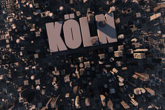 Top view of urban city in 3D. With skycrapers, buildings and name Köln Royalty Free Stock Photos