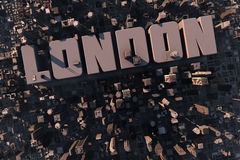 Top view of urban city in 3D. With skycrapers, buildings and name London Royalty Free Stock Photos