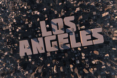 Top view of urban city in 3D. With skycrapers, buildings and name Los Angeles Stock Images