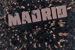 Top view of urban city in 3D. With skycrapers, buildings and name Madrid Royalty Free Stock Images