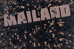 Top view of urban city in 3D. With skycrapers, buildings and name Mailand Stock Images